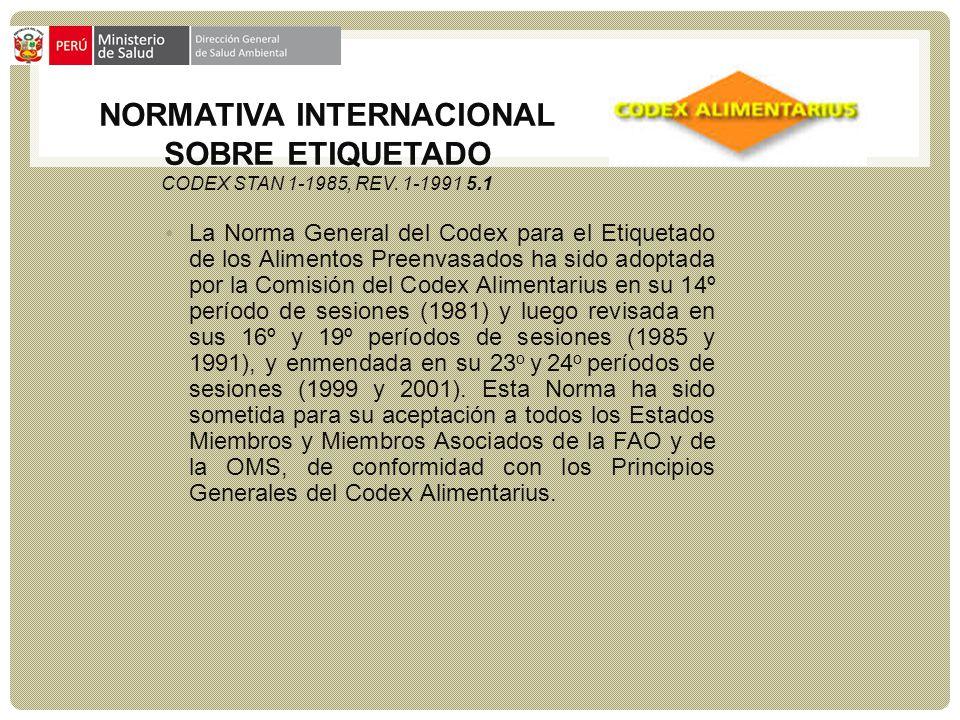 NORMATIVA INTERNACIONAL SOBRE ETIQUETADO CODEX STAN 1-1985, Rev