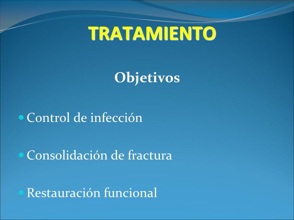 TRATAMIENTO Objetivos Control de infección Consolidación de fractura