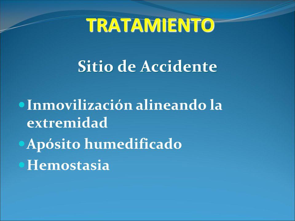 TRATAMIENTO Sitio de Accidente Inmovilización alineando la extremidad