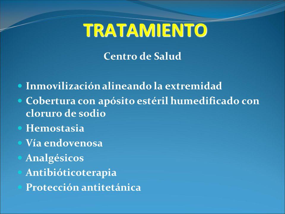 TRATAMIENTO Centro de Salud Inmovilización alineando la extremidad