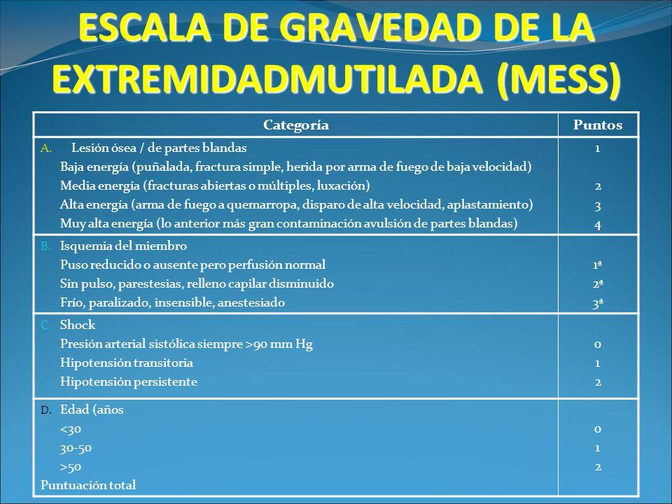 ESCALA DE GRAVEDAD DE LA EXTREMIDADMUTILADA (MESS)