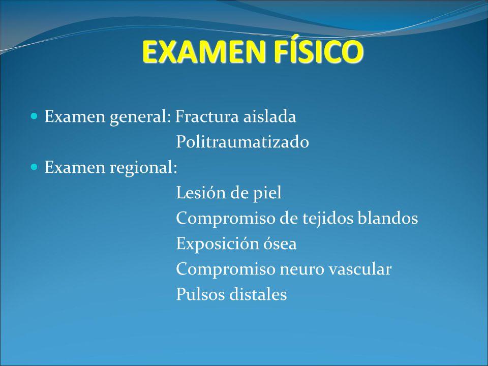 EXAMEN FÍSICO Examen general: Fractura aislada Politraumatizado