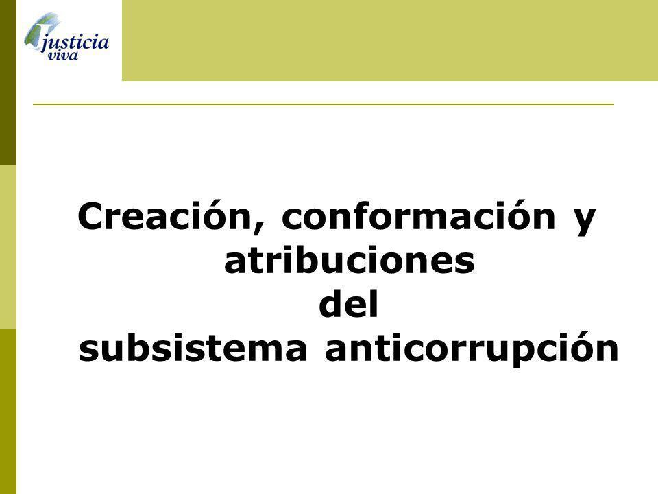 Creación, conformación y atribuciones del subsistema anticorrupción