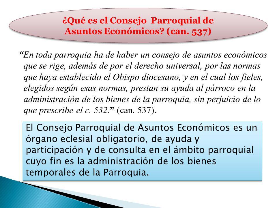 ¿Qué es el Consejo Parroquial de Asuntos Económicos (can. 537)