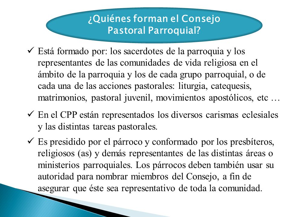 ¿Quiénes forman el Consejo Pastoral Parroquial