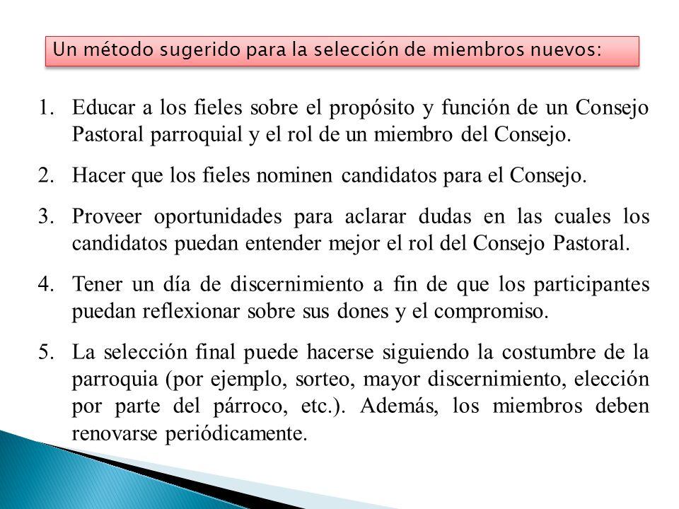 Hacer que los fieles nominen candidatos para el Consejo.