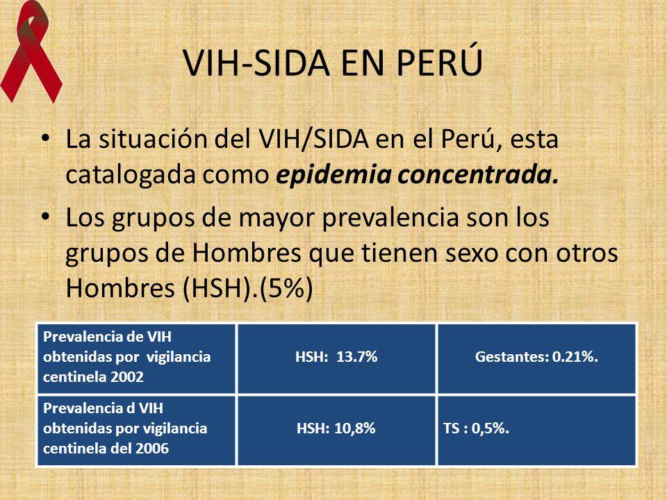 VIH-SIDA EN PERÚ La situación del VIH/SIDA en el Perú, esta catalogada como epidemia concentrada.