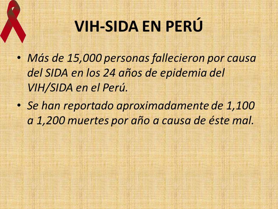 VIH-SIDA EN PERÚ Más de 15,000 personas fallecieron por causa del SIDA en los 24 años de epidemia del VIH/SIDA en el Perú.