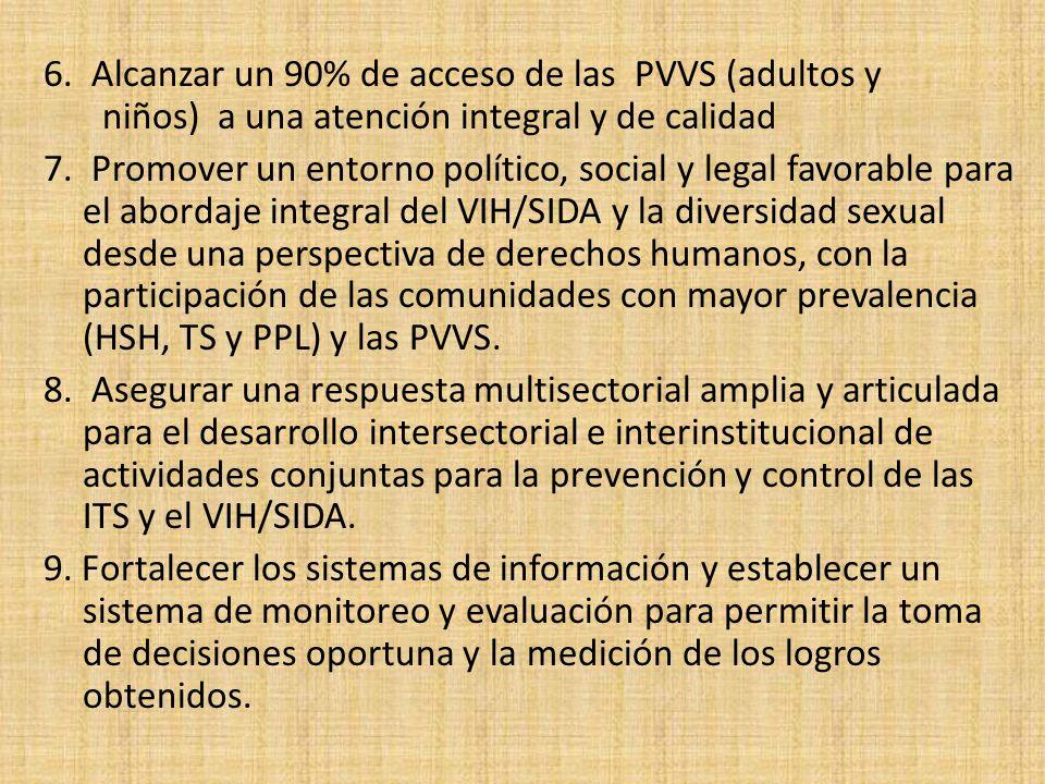 6. Alcanzar un 90% de acceso de las PVVS (adultos y niños) a una atención integral y de calidad