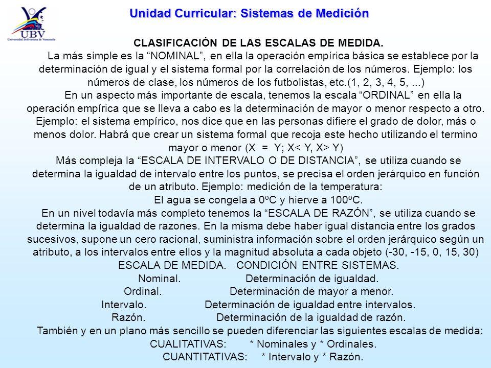 CLASIFICACIÓN DE LAS ESCALAS DE MEDIDA.