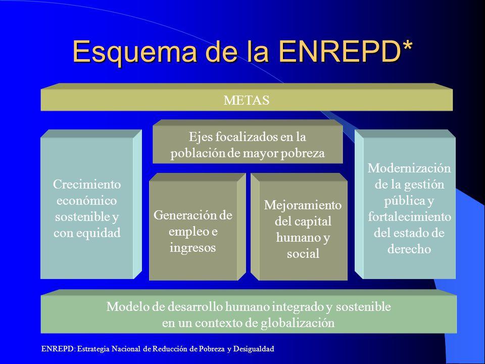 Esquema de la ENREPD* METAS Ejes focalizados en la