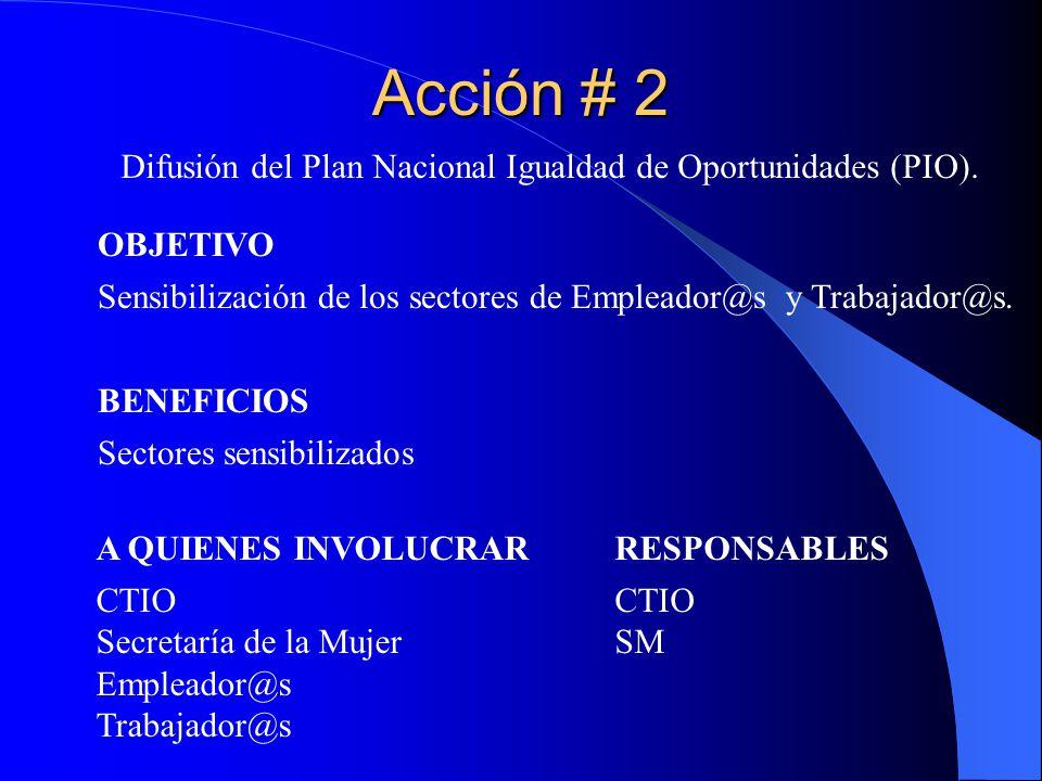 Difusión del Plan Nacional Igualdad de Oportunidades (PIO).