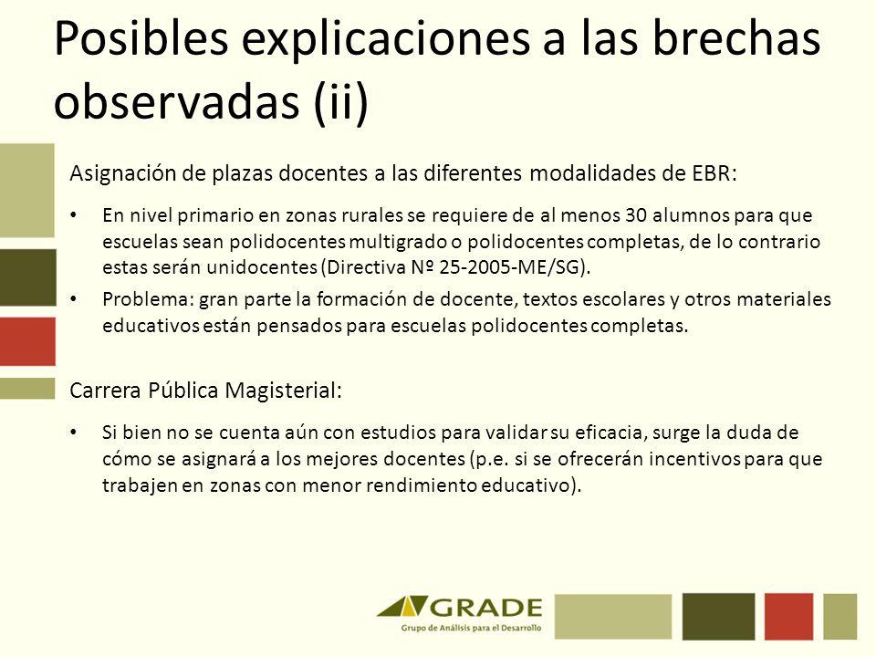 Posibles explicaciones a las brechas observadas (ii)