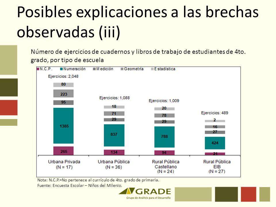Posibles explicaciones a las brechas observadas (iii)