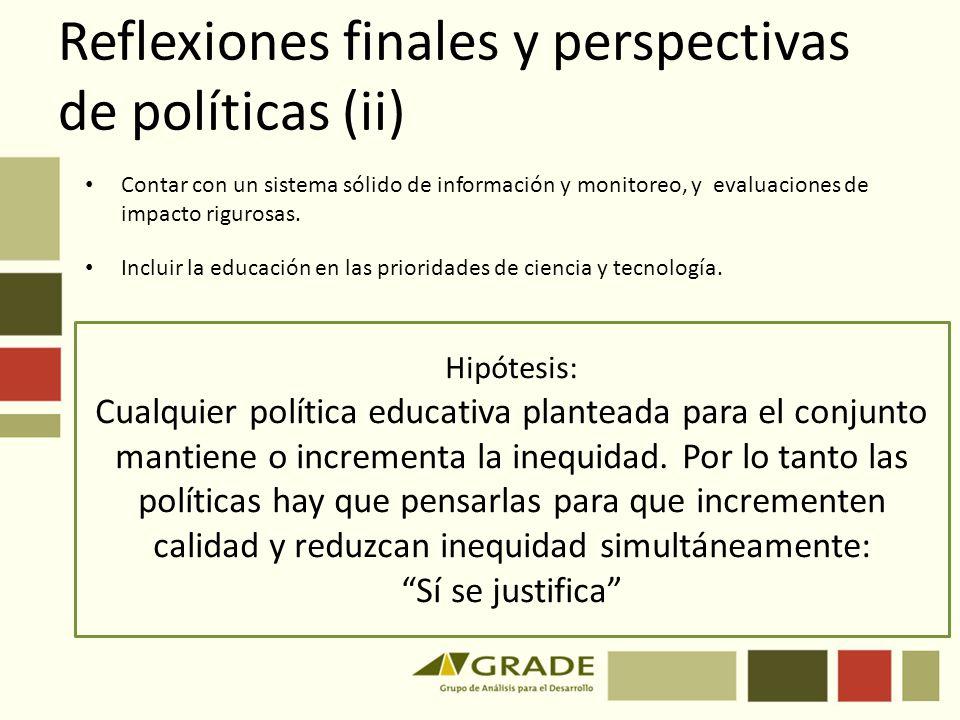 Reflexiones finales y perspectivas de políticas (ii)