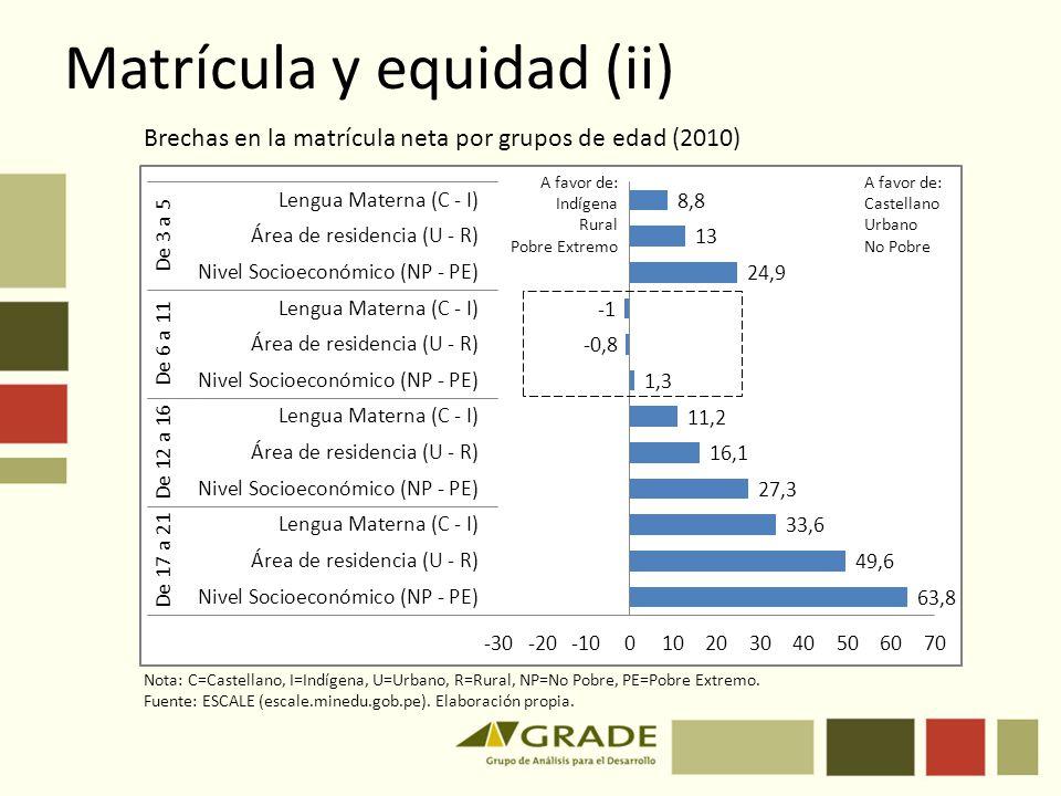 Matrícula y equidad (ii)