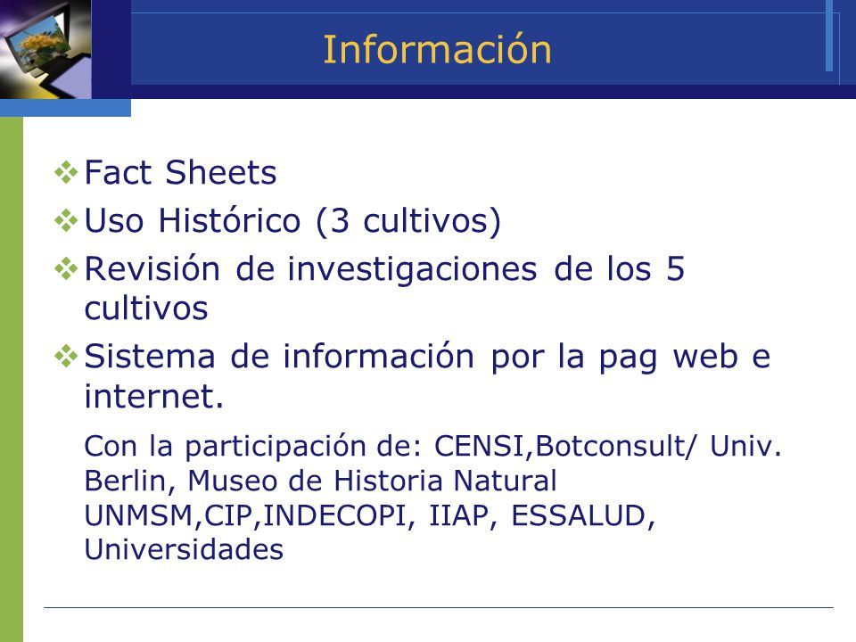 Información Fact Sheets Uso Histórico (3 cultivos)