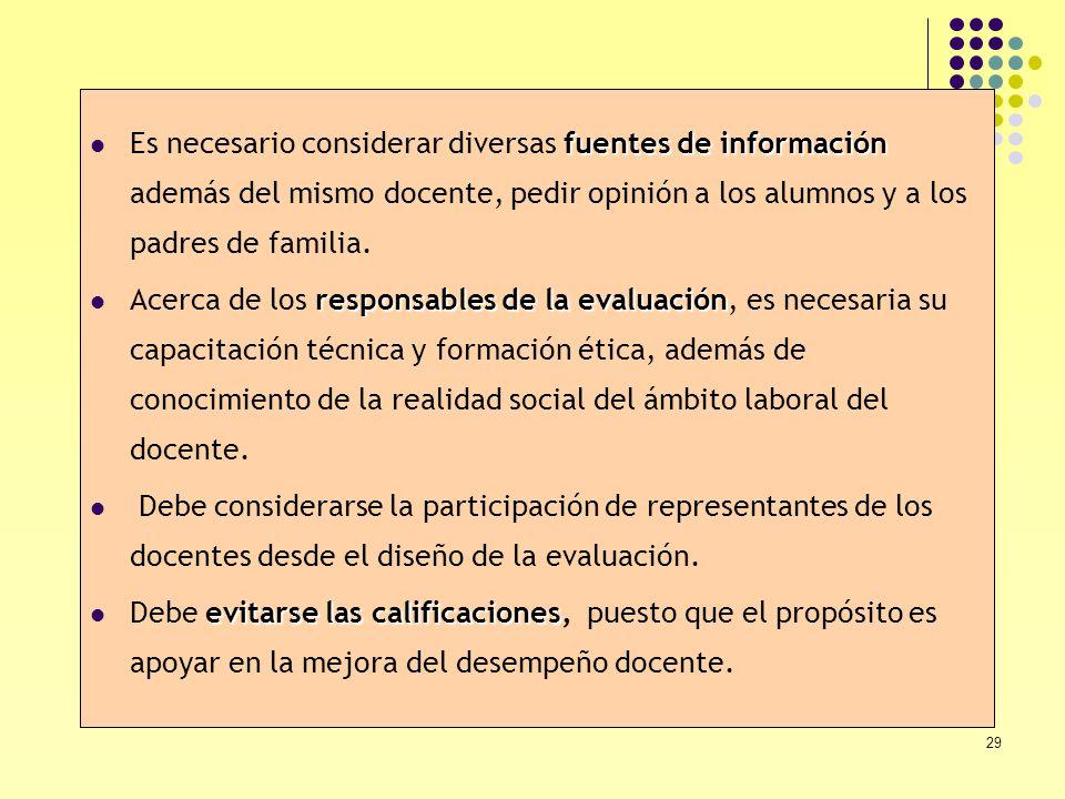 Es necesario considerar diversas fuentes de información además del mismo docente, pedir opinión a los alumnos y a los padres de familia.