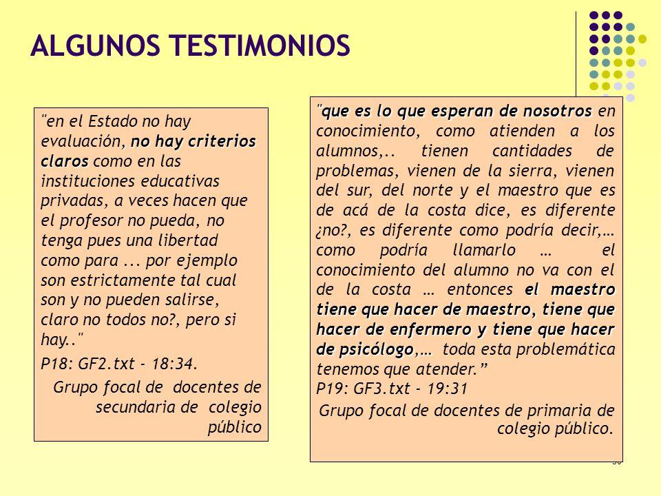 ALGUNOS TESTIMONIOS