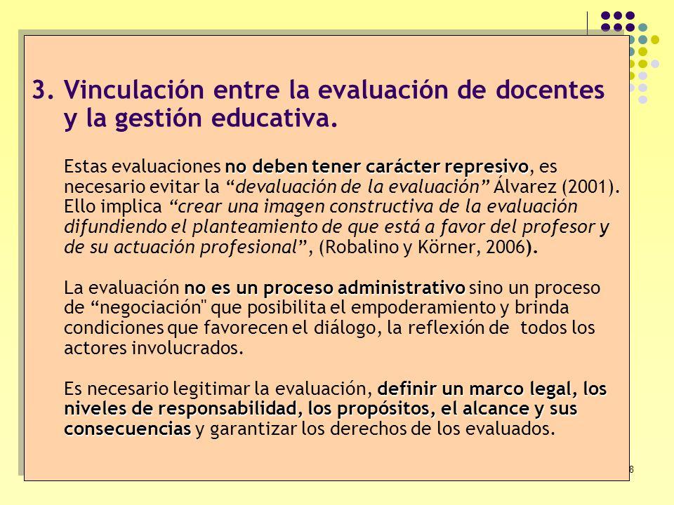 Vinculación entre la evaluación de docentes y la gestión educativa