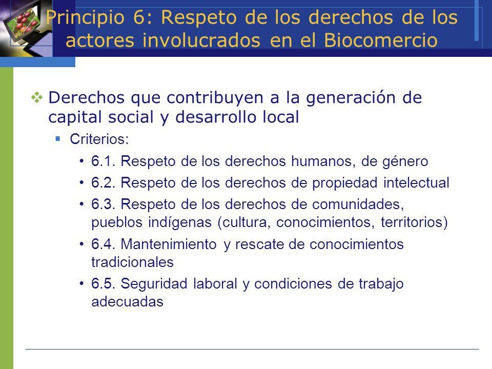 Principio 6: Respeto de los derechos de los actores involucrados en el Biocomercio