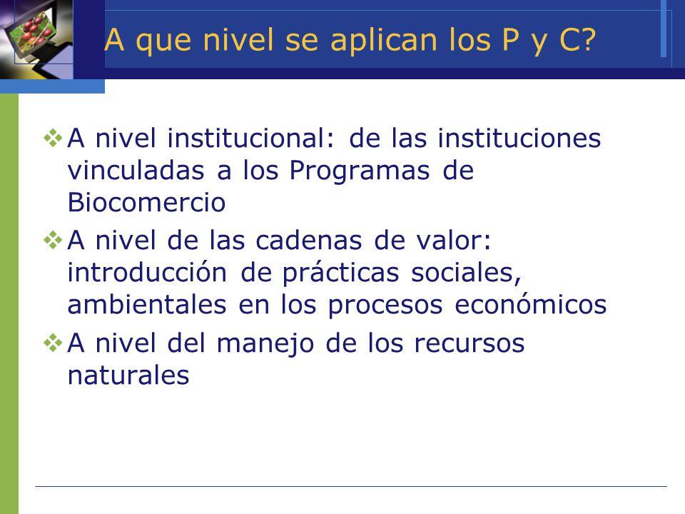 A que nivel se aplican los P y C