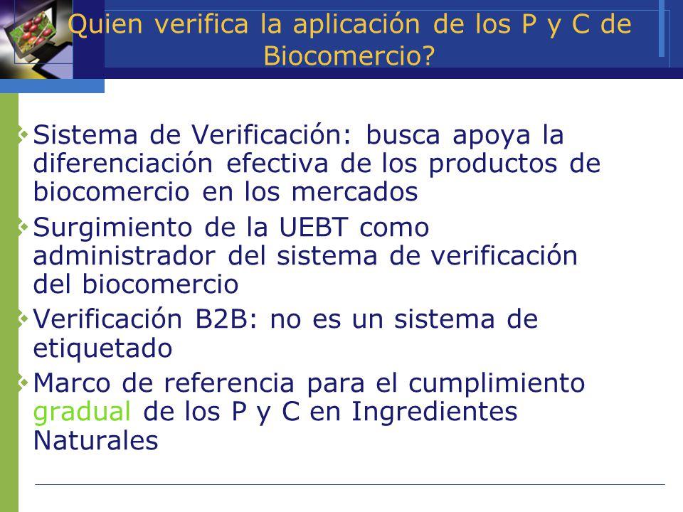 Quien verifica la aplicación de los P y C de Biocomercio