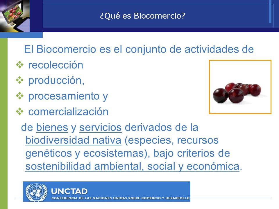 El Biocomercio es el conjunto de actividades de recolección