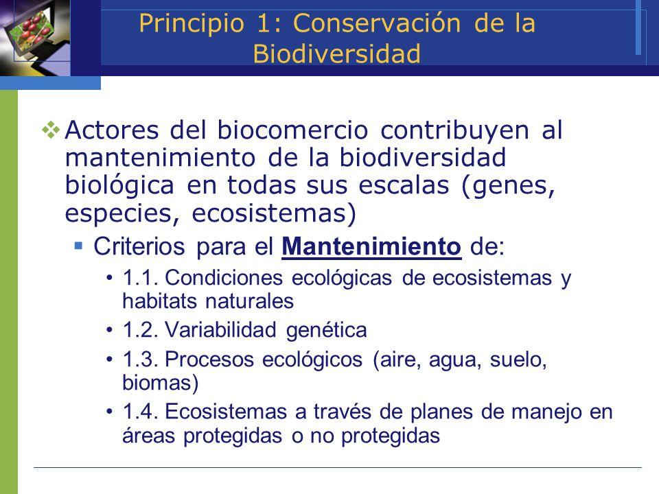 Principio 1: Conservación de la Biodiversidad