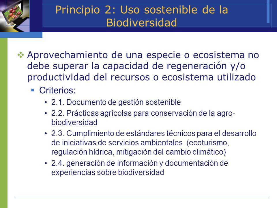 Principio 2: Uso sostenible de la Biodiversidad