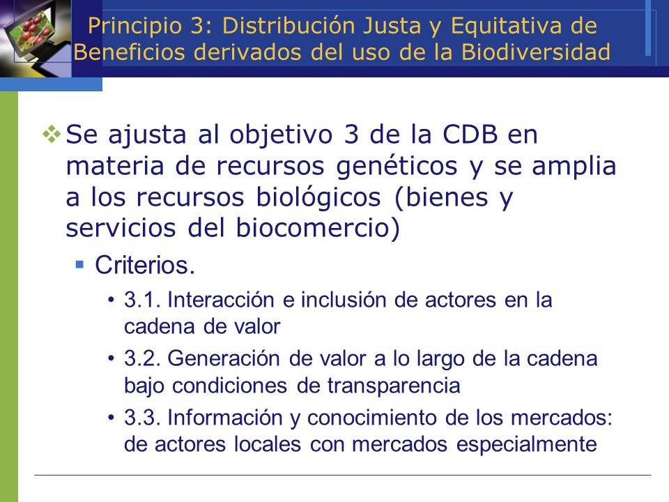 Principio 3: Distribución Justa y Equitativa de Beneficios derivados del uso de la Biodiversidad