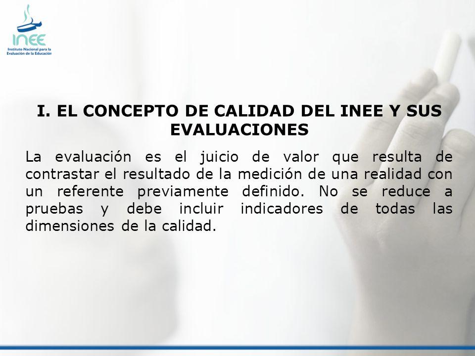 I. EL CONCEPTO DE CALIDAD DEL INEE Y SUS EVALUACIONES