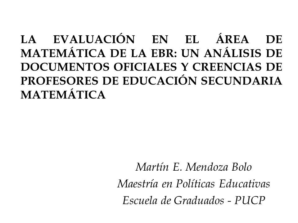 Maestría en Políticas Educativas Escuela de Graduados - PUCP