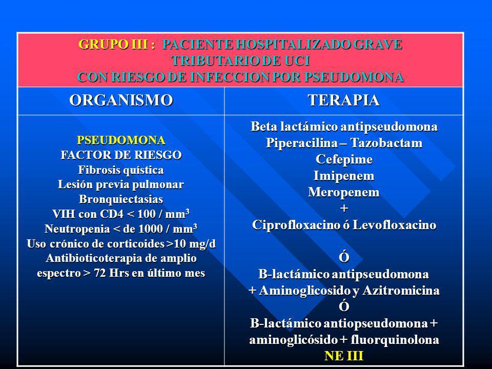 GRUPO III : PACIENTE HOSPITALIZADO GRAVE TRIBUTARIO DE UCI CON RIESGO DE INFECCION POR PSEUDOMONA