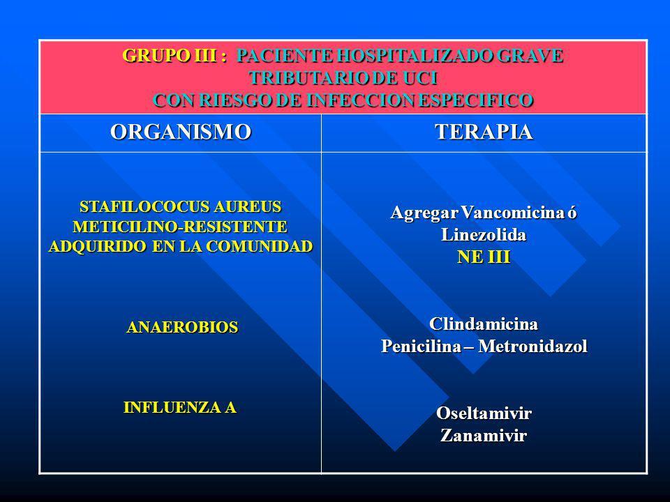 GRUPO III : PACIENTE HOSPITALIZADO GRAVE TRIBUTARIO DE UCI CON RIESGO DE INFECCION ESPECIFICO