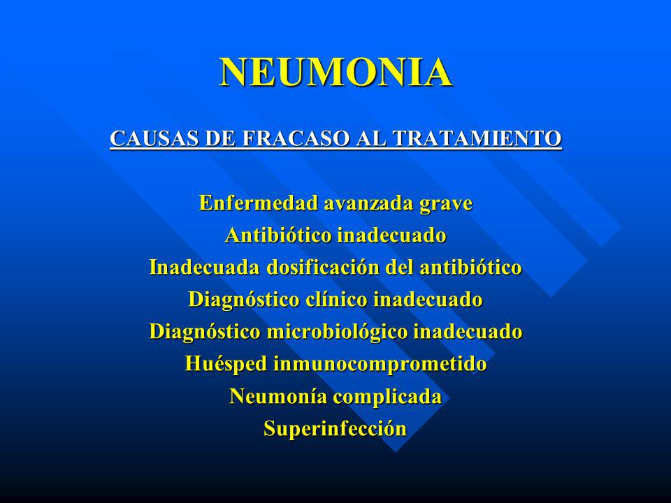 NEUMONIA CAUSAS DE FRACASO AL TRATAMIENTO Enfermedad avanzada grave