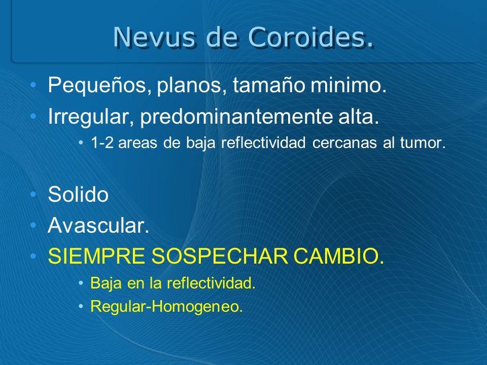Nevus de Coroides. Pequeños, planos, tamaño minimo.