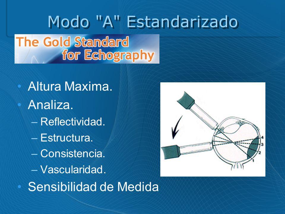 Modo A Estandarizado Gold Estandar. Altura Maxima. Analiza.