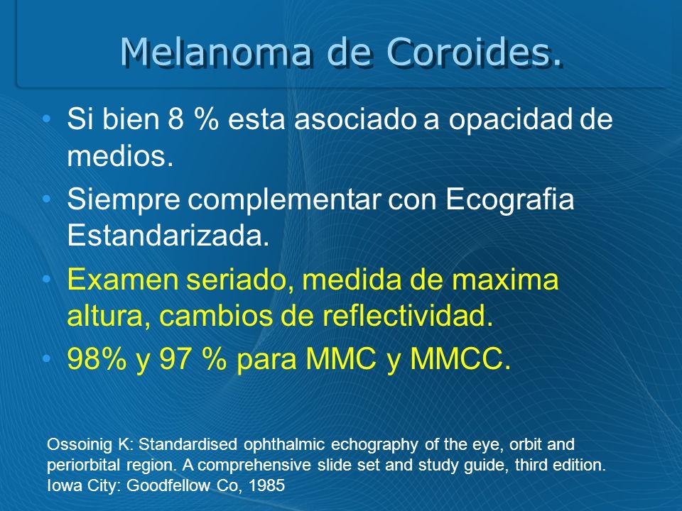 Melanoma de Coroides. Si bien 8 % esta asociado a opacidad de medios.