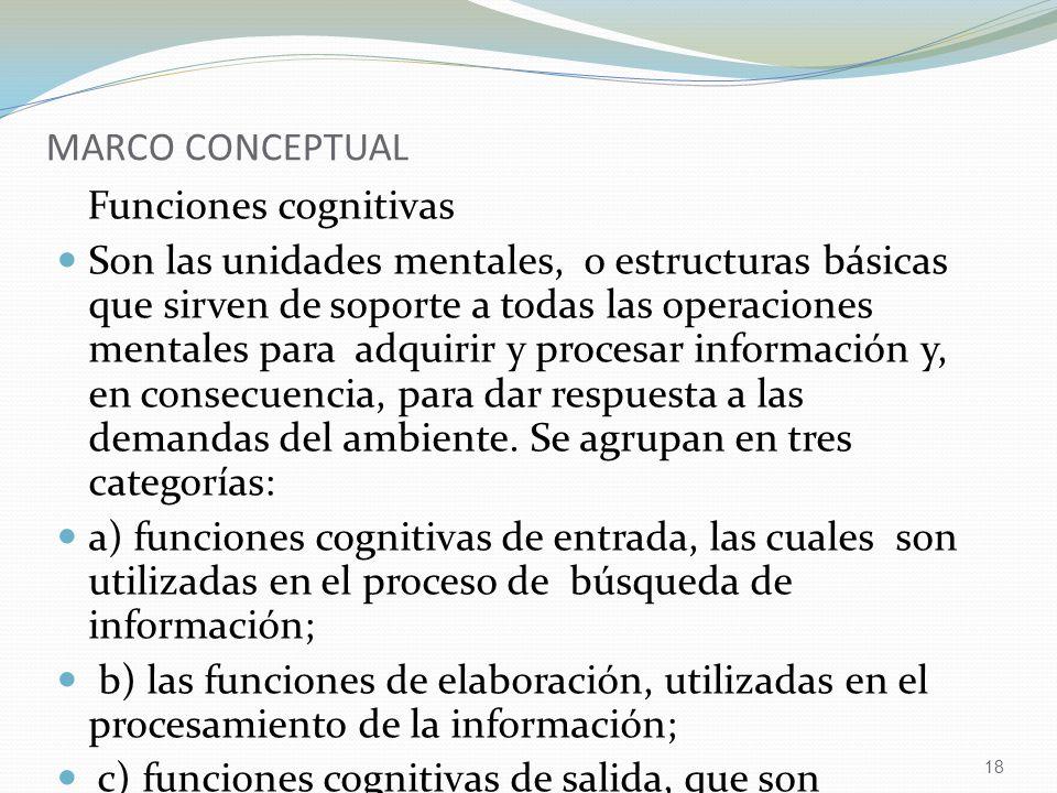 MARCO CONCEPTUAL Funciones cognitivas.