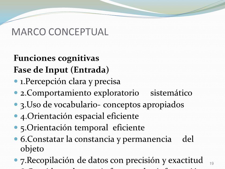 MARCO CONCEPTUAL Funciones cognitivas Fase de Input (Entrada)