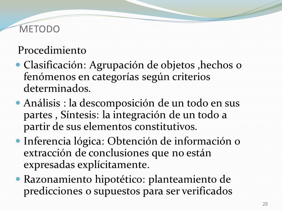 METODO Procedimiento. Clasificación: Agrupación de objetos ,hechos o fenómenos en categorías según criterios determinados.