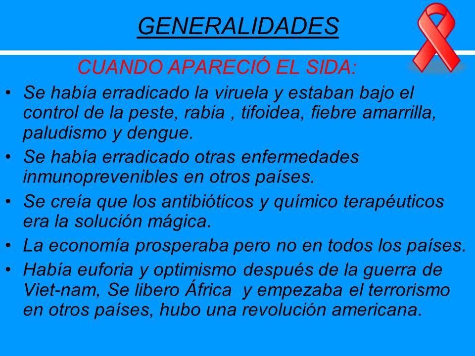 GENERALIDADES CUANDO APARECIÓ EL SIDA: