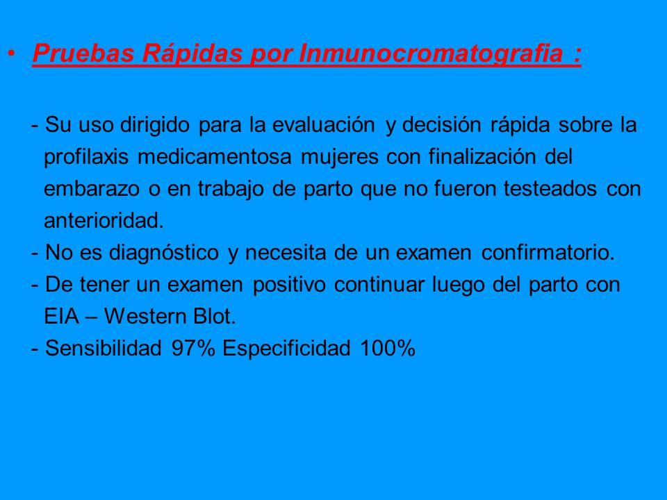 Pruebas Rápidas por Inmunocromatografia :
