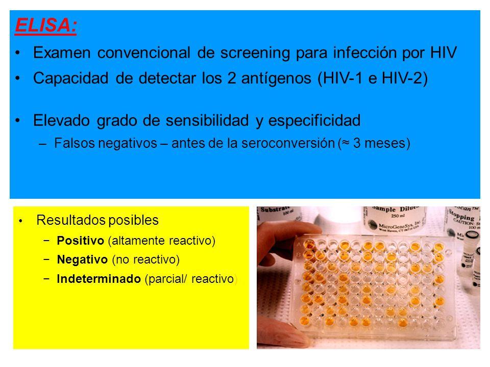 ELISA: Examen convencional de screening para infección por HIV