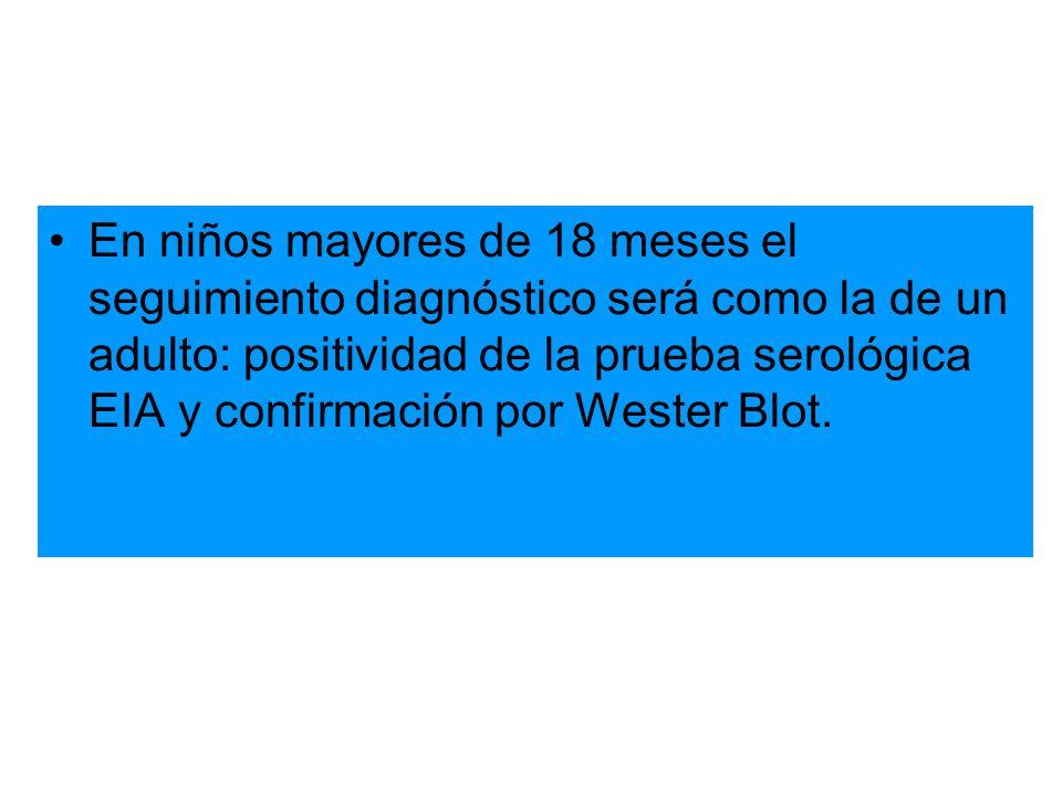 En niños mayores de 18 meses el seguimiento diagnóstico será como la de un adulto: positividad de la prueba serológica EIA y confirmación por Wester Blot.