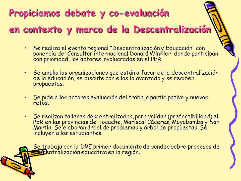 Propiciamos debate y co-evaluación en contexto y marco de la Descentralización