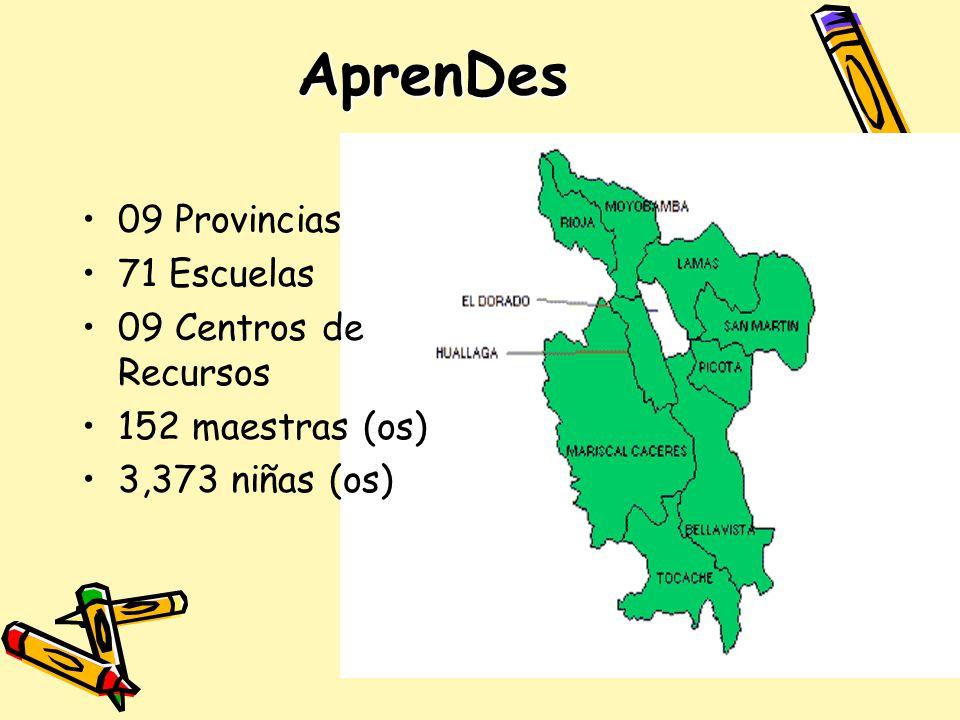 AprenDes 09 Provincias 71 Escuelas 09 Centros de Recursos