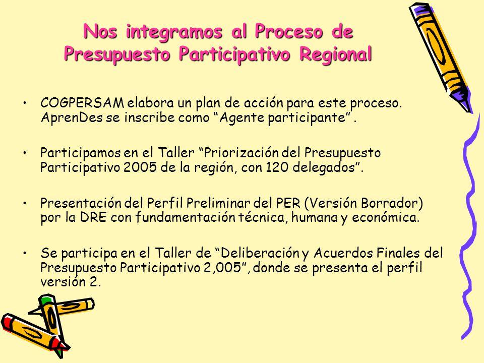Nos integramos al Proceso de Presupuesto Participativo Regional