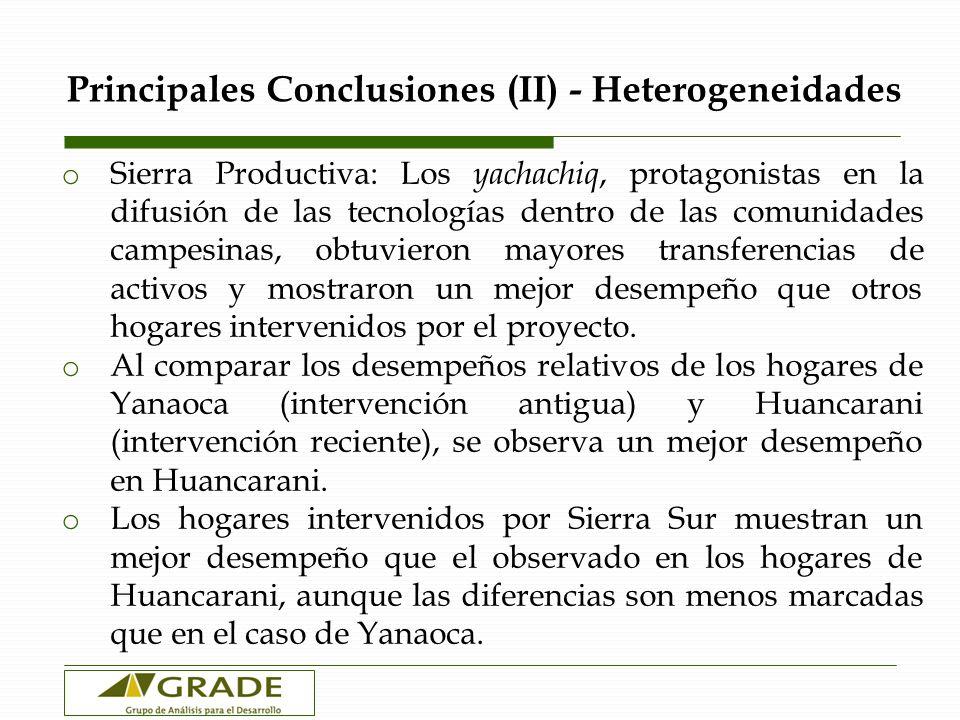 Principales Conclusiones (II) - Heterogeneidades